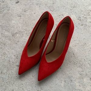 Red Faux Suede Pointy Toe Pump Heels 37